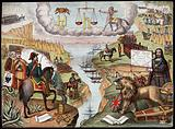 Astronomy: various apocalyptic scenes, including Napoleon III, a weeping Queen Victoria, an assassination (?