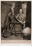 Astronomy: Thomas Phelps (left) and John Bartlett making astronomical observations in the observatory of the Earl of …