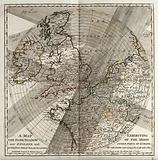Astronomy: a map showing the paths of several eighteenth century eclipses over England