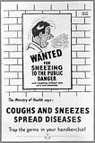 """A police """"Wanted"""" notice for a man sneezing without a handkerchief"""