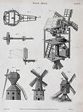 A cutaway diagram of the inside of a windmill (top right), and three different kinds of windmill (below) Engraving by …