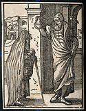 A physician holding up a flask of urine for an old lady holding a basket and walking stick