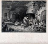An alchemist with his family in their dim dwelling, working a bellows at his furnace