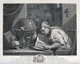 An alchemist poring over a book, on his table stand an hour-glass, a skull, and an astrological globe