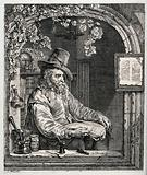 An apothecary with pharmaceutical equipment seated in an arched window