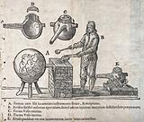 An alchemist at a furnace with a large 'receiver', with diagrams of alchemical apparatus