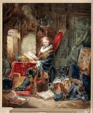 An alchemist reading in a romanticised laboratory setting