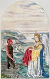 A black man with a red head and right arm emerges from a foul stream into a landscape where a winged woman is waiting …