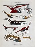 Agriculture: a plough and other implements