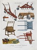 Agriculture: a plough, and various other implements