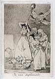 Two young women chasing and sweeping bird figures with mens' heads out of a door, encouraged by two old men in …