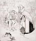 A child with a swollen mouth being led by a woman to visit an apothecary, who is seated in his laboratory
