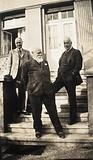 Leipzig, Germany: medical historians on the steps of a building