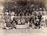 Staff of the Runchore segregation camp, set up by the Karachi Plague Committee, India