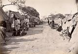 Pathway through the centre of a segregation camp during bubonic plague outbreak, Karachi, India