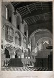 The church of St Bartholomew the Great: interior view showing the organ gallery