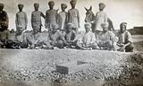 Sikh Pioneers in Tel-el-Kebir, Egypt, posed behind a soakage pit of their own construction