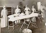Wotton Lodge, Gloucester: operating theatre and staff