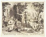 Hieronymus Fracastorius (Girolamo Fracastoro) shows the shepherd Syphilus and the hunter Ilceus a statue of Venus to …