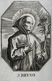 Saint Bruno. Line engraving