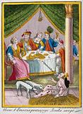 Saint Lazarus. Coloured etching