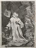 Saint Bruno praying in the wilderness