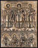 Saint Damian, Saint Pantaleon and Saint Cosmas with four male saints below