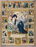 Saint Silvester Gozzolini: he receives communion from the Virgin (centre)