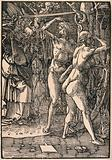 Adam and Eve are expelled from Eden by a sword-bearing angel