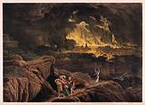 Lot and his family flee Sodom as it burns