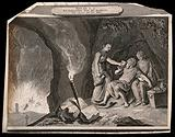 Lot and his daughters take refuge in a cave and begin their debauch