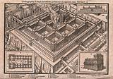 The Temple of Solomon: aerial view, with flames billowing from the sacrificial altar