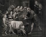 Abraham gives food to his three strange guests