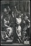 Christ, tied to a column, being whipped by two men