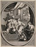 The newly-born Virgin Mary is washed by maids