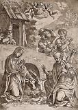 Mary, Joseph, the ass and the ox genuflect before the infant Jesus