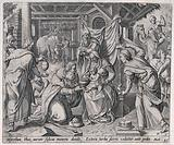 The three kings bring offerings to the infant Jesus