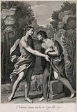 John the Baptist embraces Jesus, whom he has been awaiting