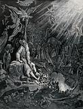 Ahasuerus man sits in hell among the shades, decrepit and tormented by Satan