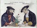 Portrait of the three engravers of Fuchs' 'de Historia…