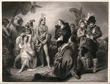 A missionary translating between original inhabitants of Asia, Africa or Europe and European military