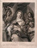 St Cecilia accompanied by angels making music