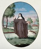 A female saint (Bridget of Sweden?) holding a crucifix and a book
