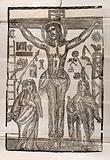 The crucifixion of Christ, with Mary and John the Evangelist, and vignettes relating to the Passion