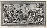 Bacchus and Ariadne on a chariot accompanied by bacchants, Silenus etc