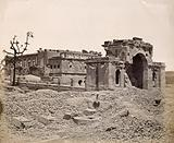 Lucknow, India: the Lucknow Residency in ruins: gateway and banqueting room, showing damage caused during the Indian …