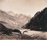 Kashmir: the Sind river above Sonamarg, with mountains beyond