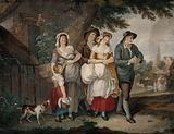 The possible eviction of a family from their cottage, all looking distressed, with the women carrying bundles and …