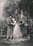A young woman rushes to embrace her lover, knocking over her chair in her haste and they are watched tenderly by an …