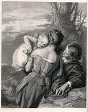 A brother and sister rest in a rocky landscape and play with a baby